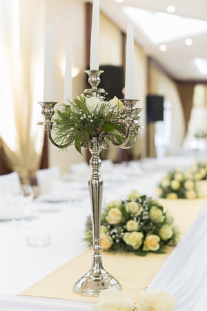 Table decorartion in wedding hall