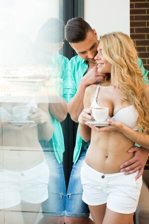 Beautiful young couple in the morning