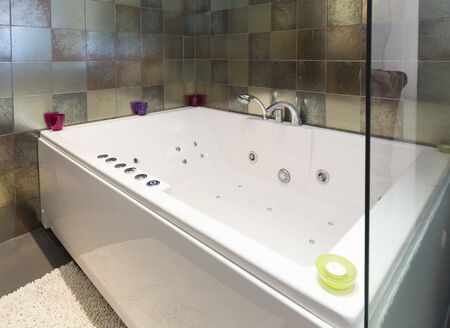luxuriously: Hotel bathroom with hydro massage bath tub