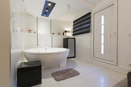 Hotel bathroom with jacuzzi bath
