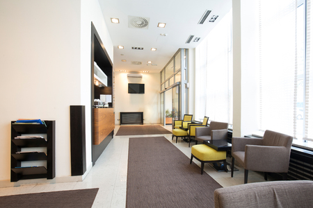 Interior of a modern hotel lobby Stock Photo