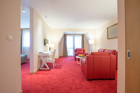 suite: Interior of a modern hotel suite