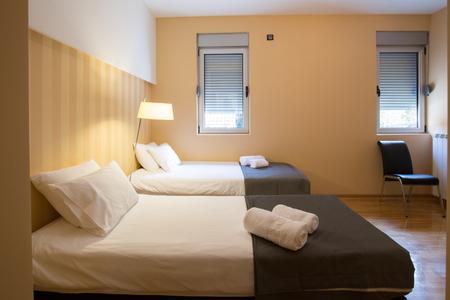interior room: Modern hotel twin room interior