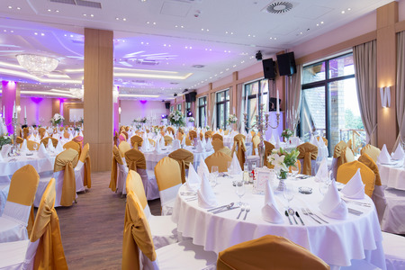 Wedding hall or other function facility set for fine dining Banco de Imagens