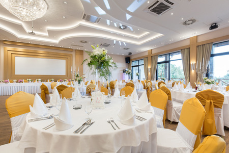 Wedding hall or other function facility set for fine dining Фото со стока - 66478315