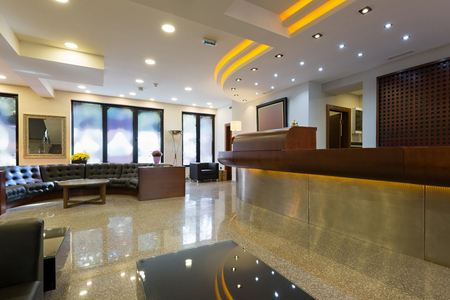 Reception area with reception desk in modern hotel