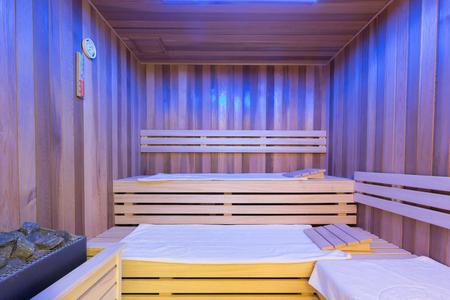 Sauna interior in hotel spa center