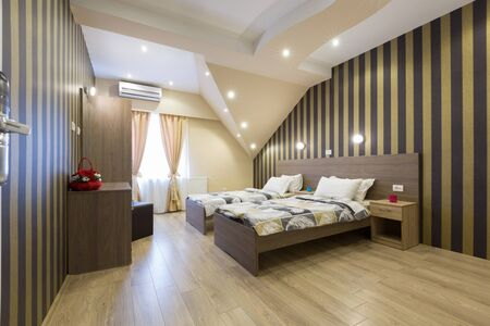Interior of a new hotel double bed bedroom Stock Photo
