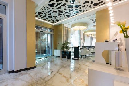 desk area: Reception area with reception desk in modern hotel
