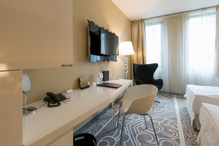 comfortable: Interior of a luxury hotel bedroom Stock Photo