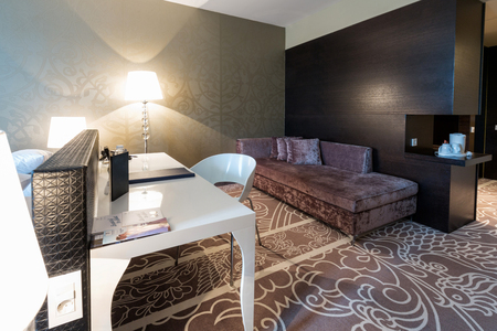 couch: Luxury hotel room interior Stock Photo