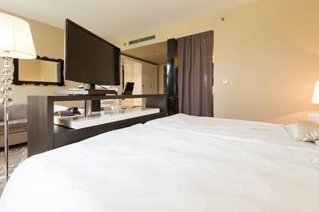 Interior of a luxury hotel bedroom Stock Photo