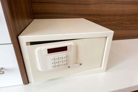 Safe deposit box in hotel room