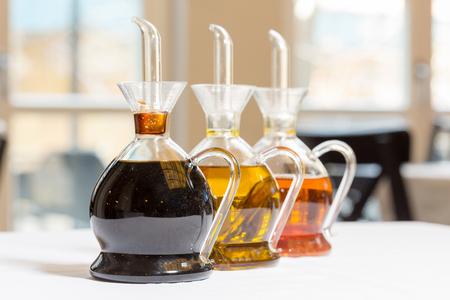 Olive oil regular and balsamic vinegar on restaurant table