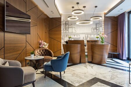 Interior of a modern luxury hotel reception Stockfoto