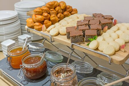 Dessert buffet table in small hotel