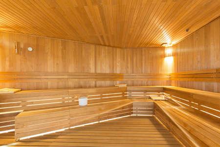Interior of a sauna in hotel resort