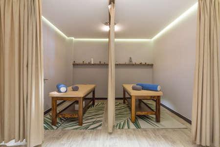 Interior of a massage room in hotel spa and wellness center Archivio Fotografico