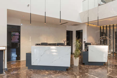 Interior of a luxury hotel lobby with marble floor,reception counter Stock fotó