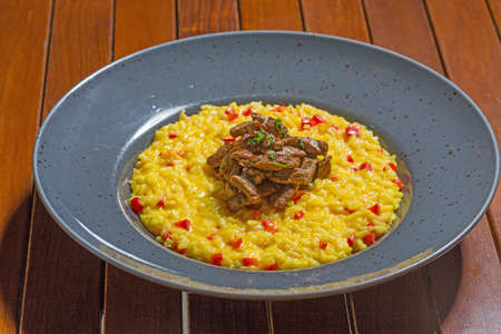 Beef risotto served in a restaurant 版權商用圖片
