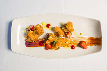 Citrus and almond prawns wrapped in kunafa pastry