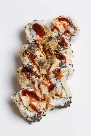 Smoked salmon sushi roll with organic black sesame