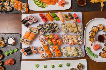 Sushi Set - Maki Sushi alaskan roll, yin yang roll and Nigiri Sushi tuna, salmon, eel