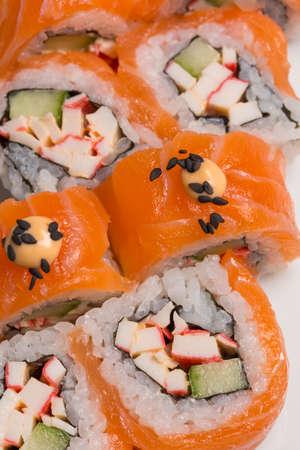 Smoked salmon sushi roll Standard-Bild