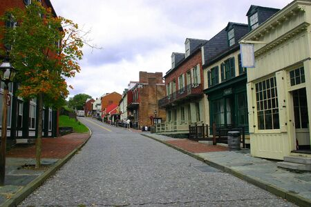 main: Harpers Ferry: main street of the buildings of the historical town, now a National Park in Virginia
