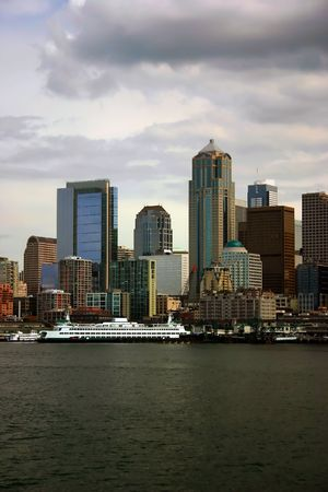 Seattle Skyline with docked ferry, view from Pudget Sound