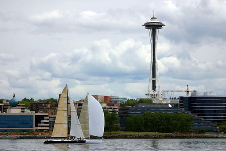 A view of Boats on Pudget Sound and Space Needle in Seattle, Washington State