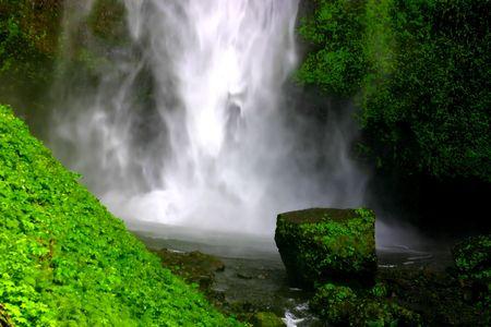 Water falls down, Multnomah falls, near Portland