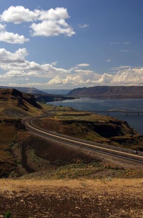 A view of Highway and Columbia river in Eastern (Central) Washington state