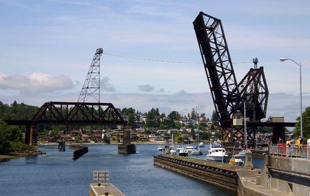 Drawn rail bridge near Hiram M. Chittenden Locks in Ballard, Seattle, Washington State Imagens