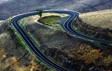 A hairpin curve near Eastern Washington, near border with Oregon