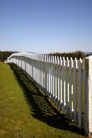 reminding: Fence around the remains of American fort in San Juan Island, reminding of Pig War Stock Photo