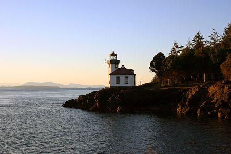 An evening near lighthouse on San Juan Island, Washington State Imagens