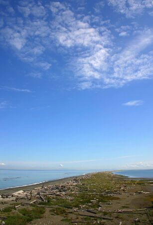A view of Dungeness spit with blue skies in Olympic peninsula in Washington State Imagens