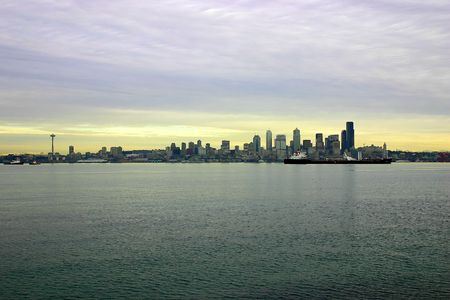View of Seattle waterfront from Alki beach, West Seattle