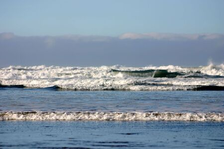 Waters of Pacific Ocean in Ruby Beach in Washington State Imagens