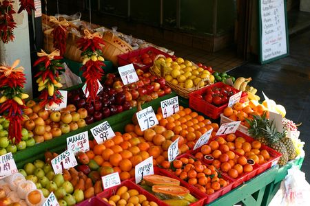 Fruit stand in public Pike Place Market