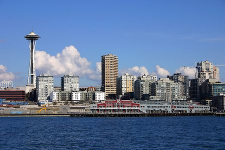 Seattle Skyline with Space Needle, view from Pudget Sound photo