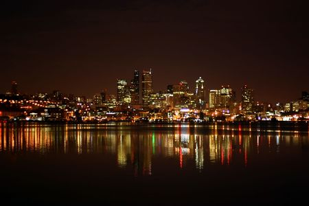 Seattle Skyline at night, a view from Alki Beach photo