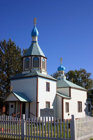 Wooden Russian Orthodox Chruch, a monument of Russian heritage in Alaska, USA