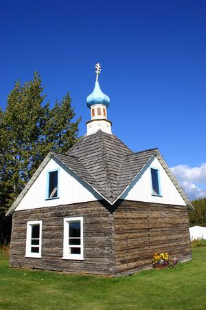 Wooden Russian Orthodox Chruch, a sign of Russian heritage in Alaska, USA
