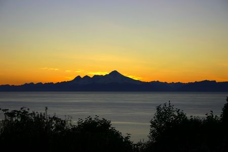 Picture of Alaska Range at sunset, late Autumn; with Neah Bay
