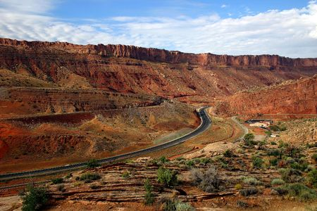 Road through canyons in Utah, near Arches National Park.