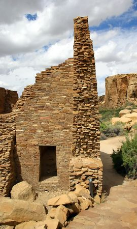 Ruins of Native American structures in Chaco canyon, New Mexico