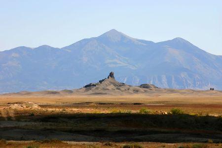 Rock peaks near Shiprock monument, New Mexico desert