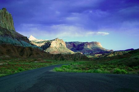 zion: A road into Zion National Park, full colors, near sunset Stock Photo